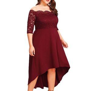 Dresses & Skirts - BACK❣️👑Plus Deep Red Hi-lo Queen Dress,14W-22W